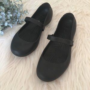 CROCS Sz 10 Black Slip Resistant Mary Janes Shoes